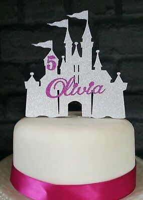 Personalised Princess Castle Birthday Cake Glitter Card Topper Any