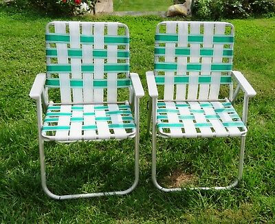 aluminum web lawn chairs bedroom chair gumtree pr vintage folding webbed white green metal arms