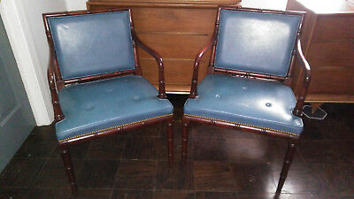 hickory chair co seat cushions for chairs dining vintage matching pair of blue leather bamboo style arm 500 00 picclick