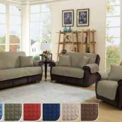 Quilted Microsuede Sofa Cover No Sew Slipcovers Microfiber Couch Pet Furniture Protector 3 Sizes