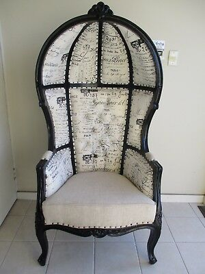 french canopy chair fancy bedroom chairs provincial louis xv style in black new