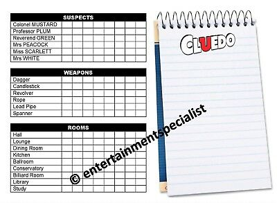 CLUEDO DETECTIVE NOTES x 20 sheets spare parts