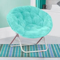 Teal Faux Fur Saucer Chair Steel Case Chairs Folding Moon Furniture Seat Purple Portable Dorm Lounge Aqua Bedroom Comfy Wide