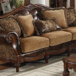 Leather And Chenille Sofa Berlin Corner With Table 2 Stools Set Acme Dreena Traditional Bonded 1 529 00