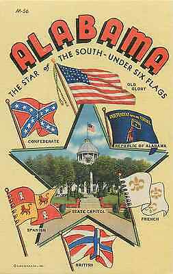 Alabama State Flags From 1540 To 1942 & View State Capitol Postcard