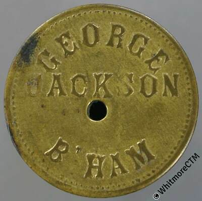 Market Token Birmingham 24mm W4707 1/- George Jackson - Brass. Central hole