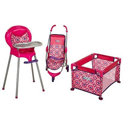 baby toy high chair set hanging upside down girls play furniture stroller pen 3 pc kids bed doll new