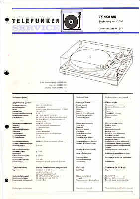 TELEFUNKEN ORIGINAL SERVICE Manual für Phono TS 860 hifi