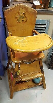 vintage wood high chair tempur pedic wooden child convertible highchair and play table