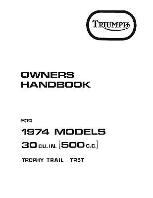 TRIUMPH Workshop Manual TR5T 1973 & 1974 Adventurer Trophy
