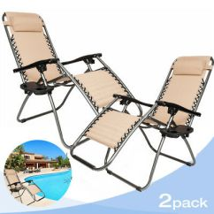 Zero Gravity Chair 2 Pack Pine Kitchen Chairs With Arms Yard Lounge Patio Lawn Recliner Khaki