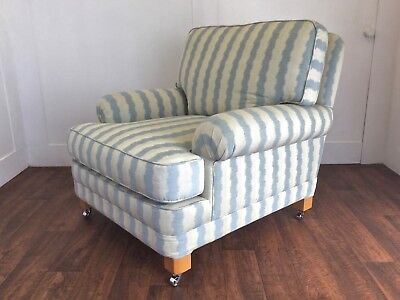 kingcome sofa sale york daybed designer country house armchair in blue and cream linen stripe