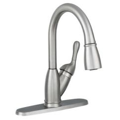 Delta Izak Kitchen Faucet Short Curtains For Pull Down Sprayer Single Handle Secure Docking Metal