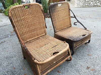 antique wicker chairs dining chair slip cover vintage boat or canoe fishing with leather straps