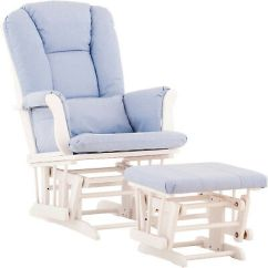 Blue Glider Chair Used Folding Chairs Baby And Ottoman White With Lumbar Pillow Cushion Rocker