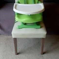 Mothercare Travel High Chair Booster Seat Folding Rocking Chairs Delux Tray Green Portable