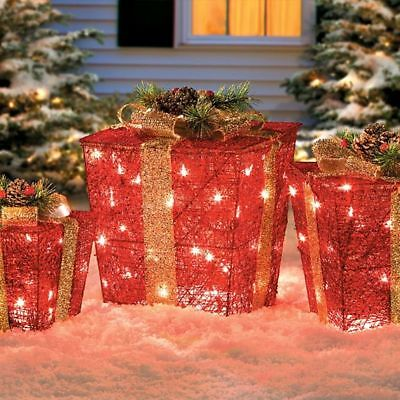 on 52 lighted 3 stacked gift bo christmas decor yard - Pre Lit Polar Bear Christmas Decoration Set Of 3