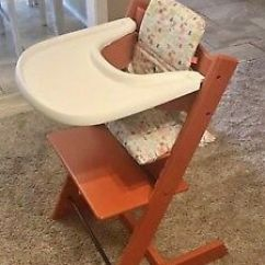 Tripp Trapp High Chair Cynthia Rowley Chairs For Sale Stokke With Complete Baby Set Lava Orange