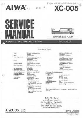 AIWA XC-005 SERVICE Manual Original Factory Repair book cd