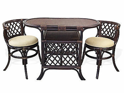2 chairs and table rattan desk chair measurements borneo handmade wicker dining set oval dark brown color