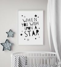 LOVE YOU MOON Stars (Grey) - Nursery Print - Baby Room ...