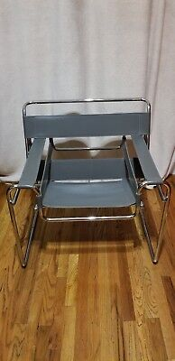 wassily chair brown leather ergonomic for sale pair by marcel breuer gray excellent condition