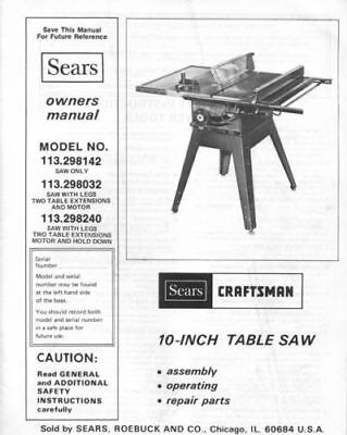 Craftsman 10 Inch Table Saw Model 137 Manual