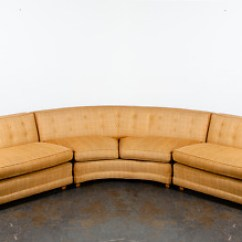 Gold Sectional Sofa Power Sofas Mid Century Modern Couch Rounded Large Vintage Custom Mcm Vg