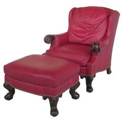 Red Leather Chair And Ottoman Low Chairs For Living Room Antique Armchair Large Wing Gentleman S English 29537e Stanford