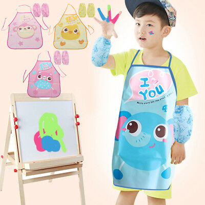 kitchen apron for kids cabinets images children cute set pe waterproof art painting 1 sleeves cooking protection
