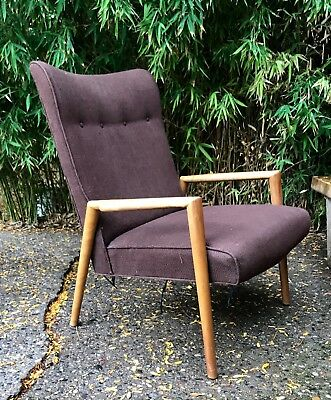 modern ball lounge chair adirondack chairs rochester ny rare vtg conant arm russel wright maple mid century
