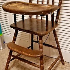 Antique Wooden High Chair Bulk Covers Canada Highchair With Feeding Tray Infant Wood Seat Vintage