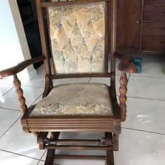 Antique Platform Rocking Chair With Springs Desk Chairs For Sale Spring Wood Tapestry Upholstered Rocker 1880 Turned Supports And Velvet Tufted Uph
