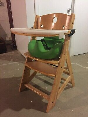 keekaroo high chair mid century modern leather dining height right w tray and green cushion insert