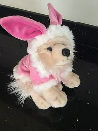 Fluffy Toy Terrier Dog In Rabbit Outfit By Keel Toys  2