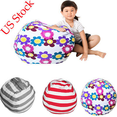 bean bag storage chair office assembly us kid stuffed animal toy cotton pouch soft stripe fabric 12 34 picclick