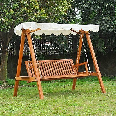 swing chair garden uk high kitchen table and chairs 3 person large hanging seater canopy wooden sturdy hammock 328 95 picclick