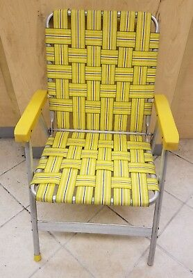webbed folding lawn chairs suede computer chair vintage aluminum yellow white 30 00