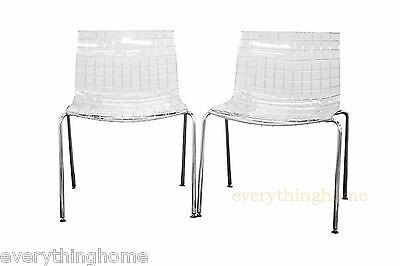transparent polycarbonate chairs revolving desk chair 2 new clear checkered ghost side dining accent
