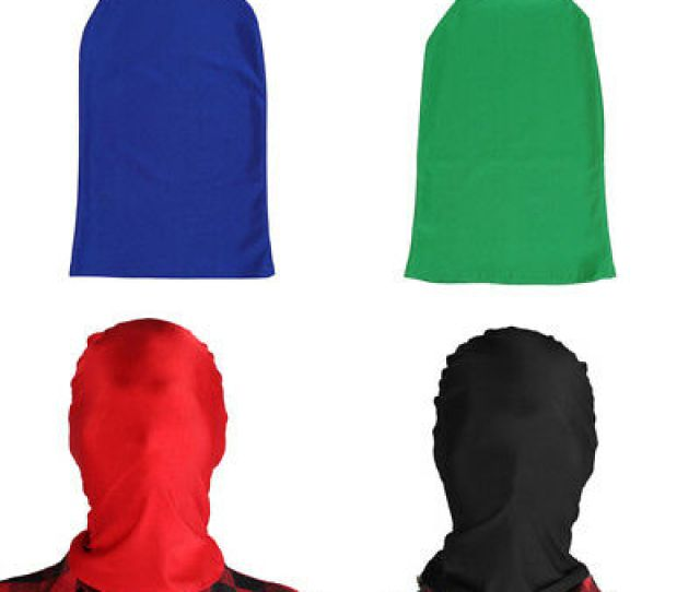 Unisex Breathable Full Face Cover Lycra Spandex Zentai Costume Mask Hoods Erotic