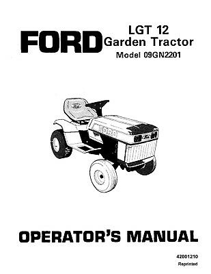FORD LGT 18H Garden Tractor Operators Manual 9801811 18