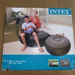 Intex Ultra Lounge Chair And Ottoman Padding Foam Inflatable Sofa With 68564 Footstool Grey Black