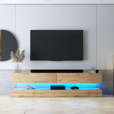 hylia meuble tv suspendu 140 cm led bleue design banc television salon moderne