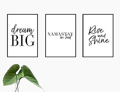 Set Of 3 Bedroom Quote Poster Prints A4 Wall Art Home Decor Namastay In Bed 8 50 Picclick Uk