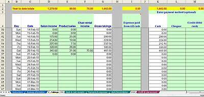 TATTOO STUDIO ACCOUNTING & VAT spreadsheet templates for 2018 year ...