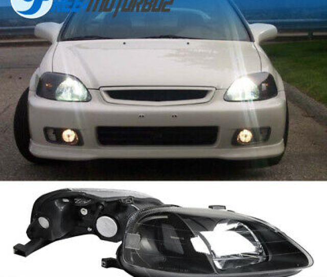 For 99 00 Honda Civic Ek Em Jdm Style Black Housing Headlights Lamps