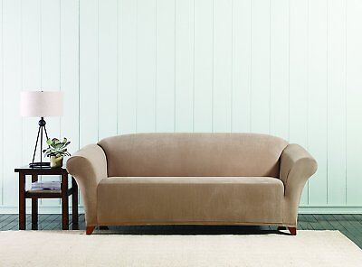 beach house sofa slipcover plastic cover sure fit stretch corduroy 2 piece tan solid new