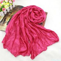 WOMEN Cotton Linen Casual Long Wrinkle Scarves Shawls ...