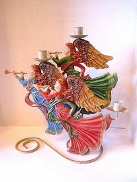 """PAIR of Christmas angel candle holder, 6"""" tall - CAD $8.00 ..."""
