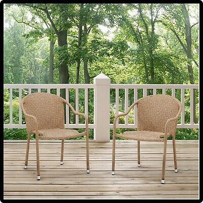 wicker patio chair set of 2 metal and wood dining chairs stackable outdoor deck porch furniture brown